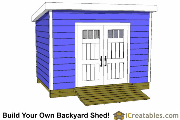 8x12 lean to shed plans with door on tall wall