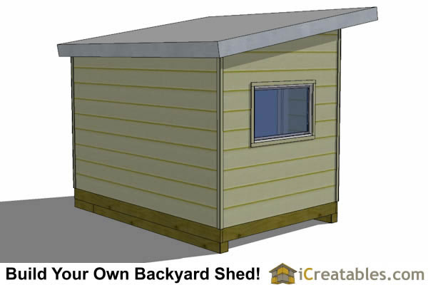 8x12 modern studio shed plan rear view