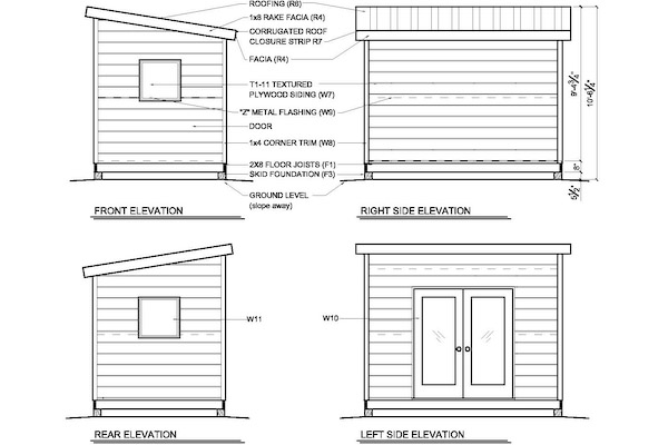 8x12 modern shed elevations