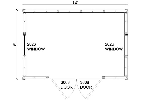 8x12 modern shed floor plans
