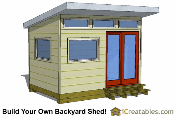 8x12 studio shed front view