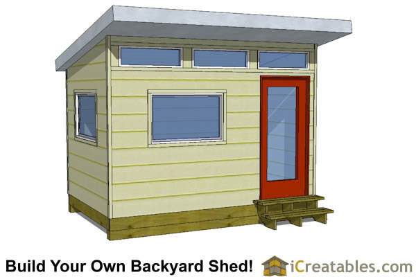 8x12 office shed plans with single door on front