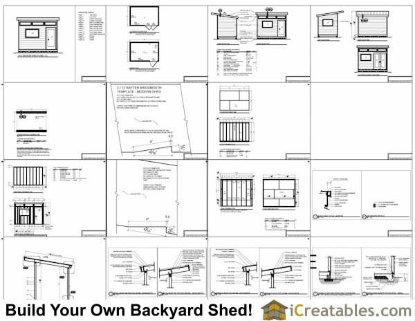 8x12 Studio Shed Plans S2 | 8x12 office Shed Plans | modern shed plans