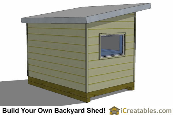 8x12 modern shed plans rear view