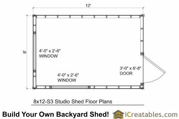 8x12 modern shed pllans floor plan