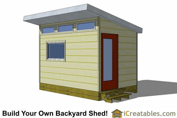 8x12 studio shed plans with door on end