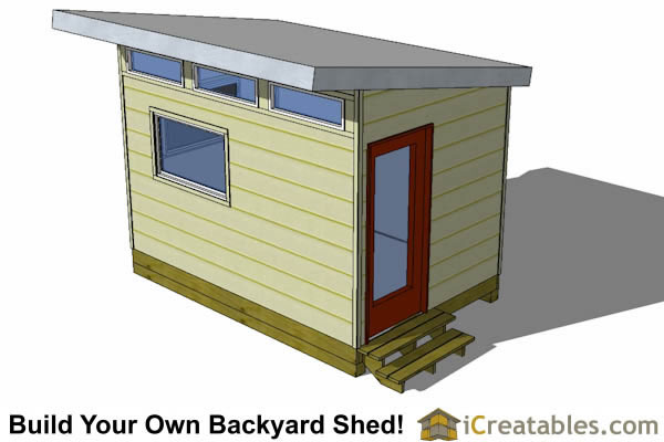 8x12 modern shed front view