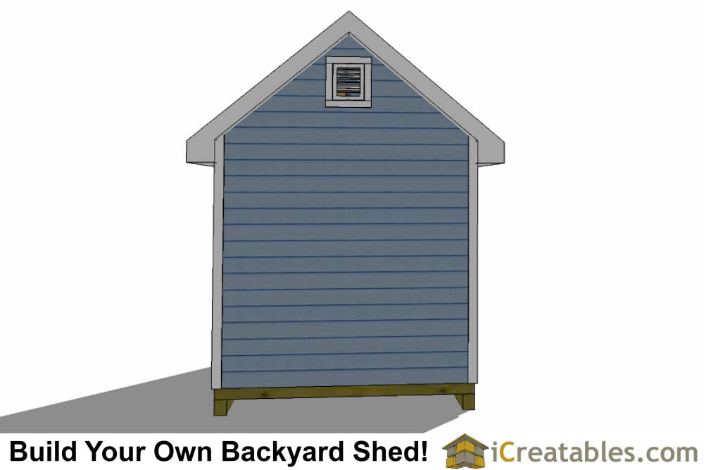8x12 traditional victorian shed plans rear elevation