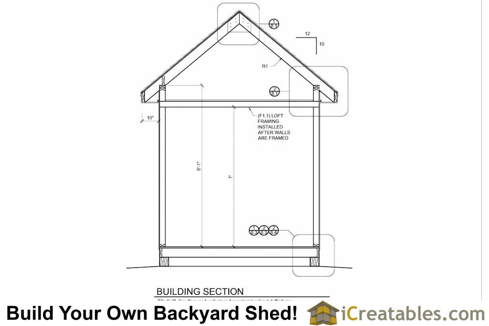 8x12 shed plans building section with storage loft build