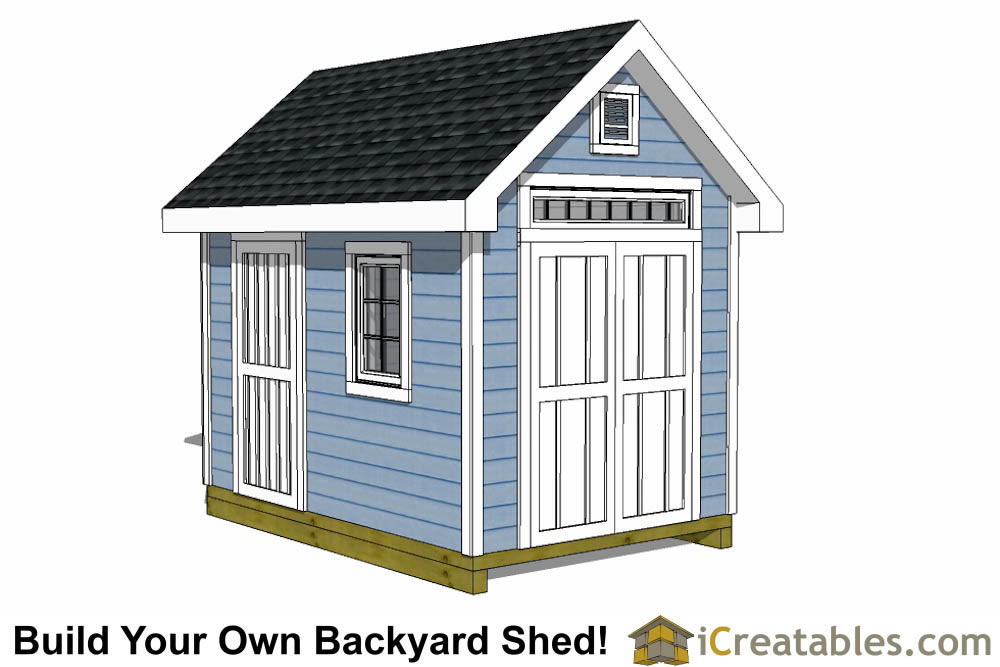 8x12 colonial shed plans large door