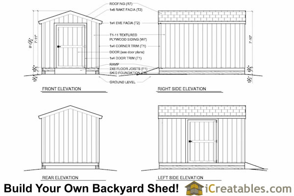 8x12 shed plans elevations