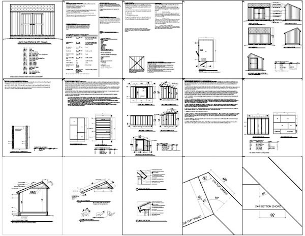 shed plan page samples (they are not from the 8x12 saltbox shed plans