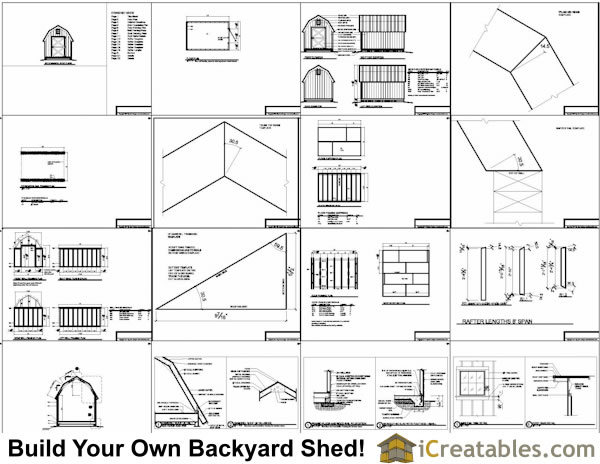 8x12 gambrel shed plans