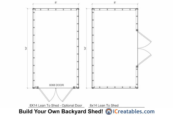 8x14 lean to shed plans storage shed plans for Storage building floor plans