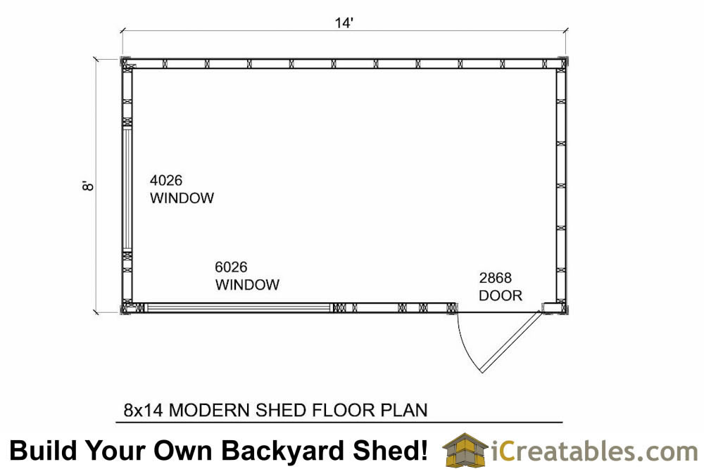 8x14 modern shed floor plans