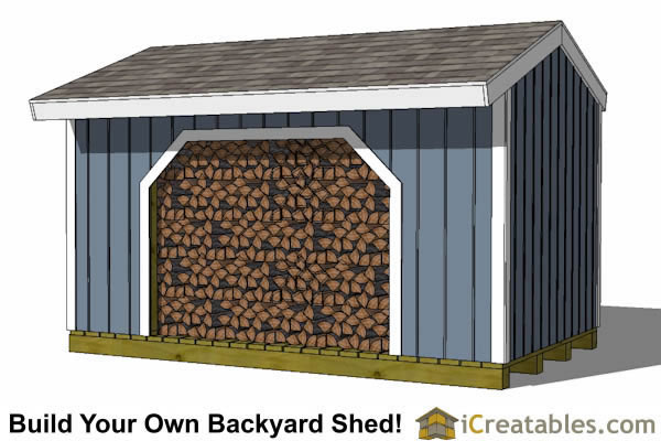 8x16 firewood shed front view with firewood storage shed plans