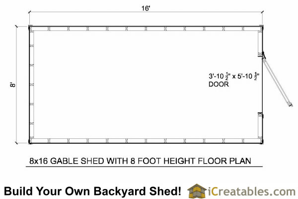 8x16 gable shed with 8' height floor plan