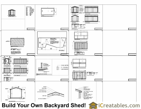 8x16 gable shed with 8' height plans example