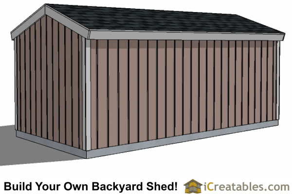 8x16 backyard shed plans 8' tall rear view