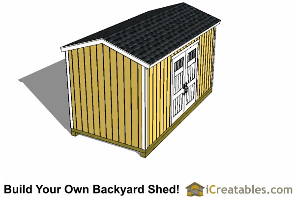 8x16 backyard gable shed side door elevation