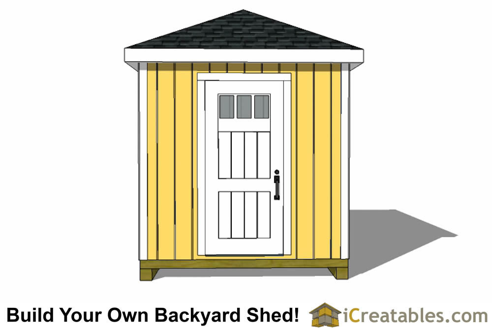 8x16 Hip roof shed plans front elevation