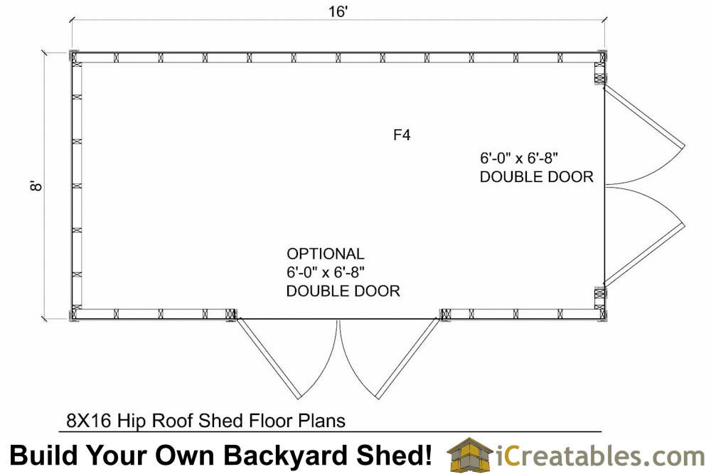 8x16 hip roof Shed Floor Plans