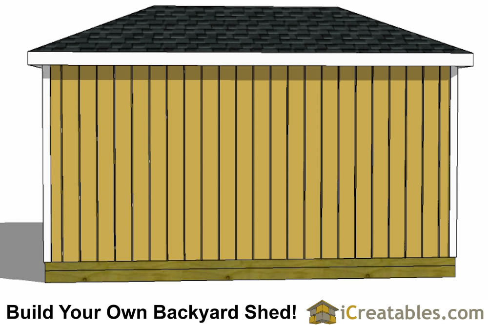 8x16 hip roof shed left elevation