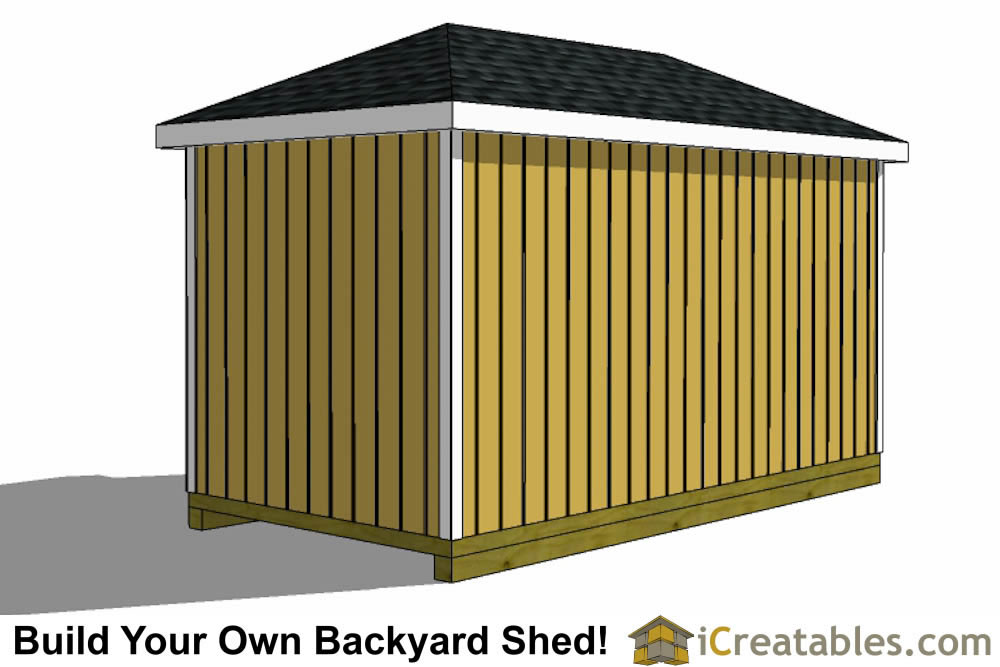 8x16 hip roof shed plans rear side