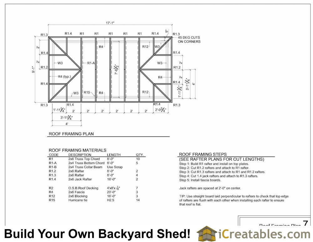 8x16 Hip Roof Framing Plan