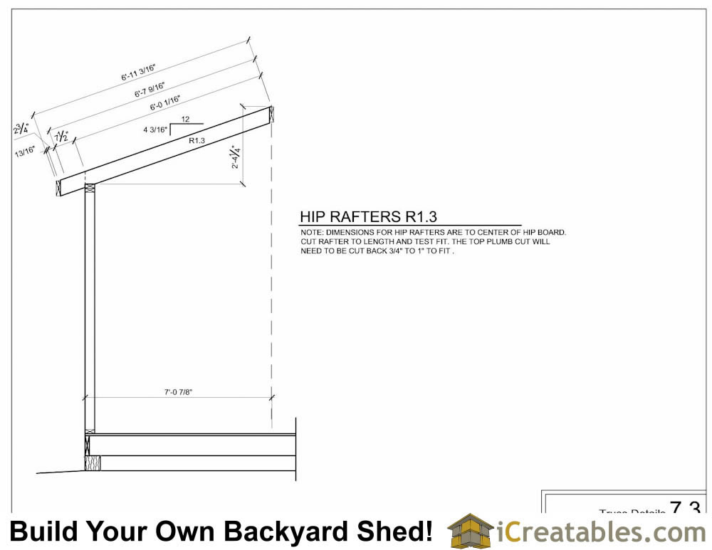 8x16 hip roof shed rafter diagram