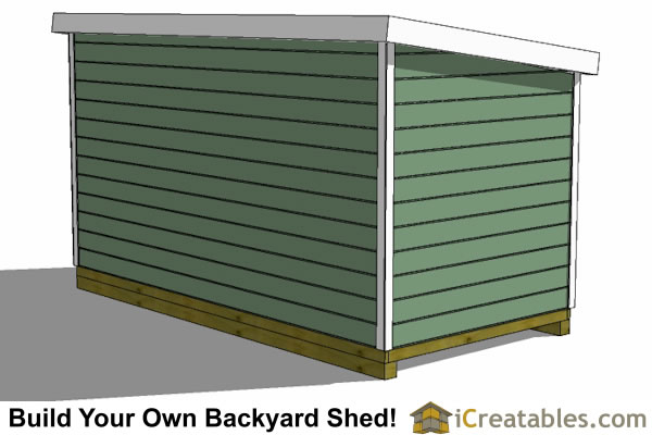 8x16 lean to shed plans rear view