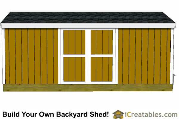8x20 backyard shed plans front