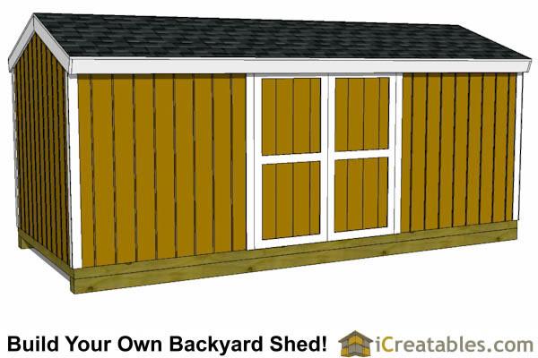 8x16 Short Backyard Shed Plans 8u0027x20u0027 Backyard Storage ...