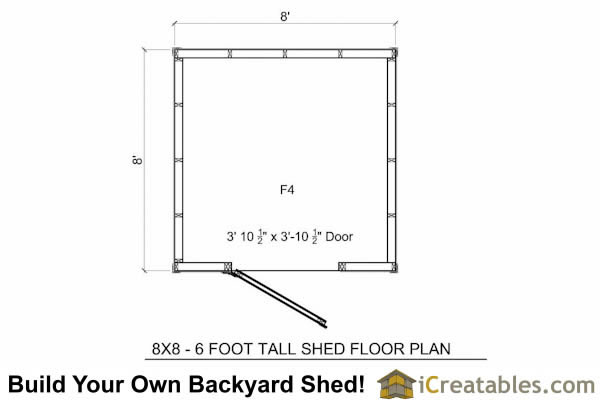 8x8  foot tall shed plan floor plan