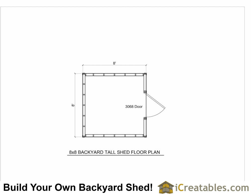 8x8 backyard shed plan floor plan