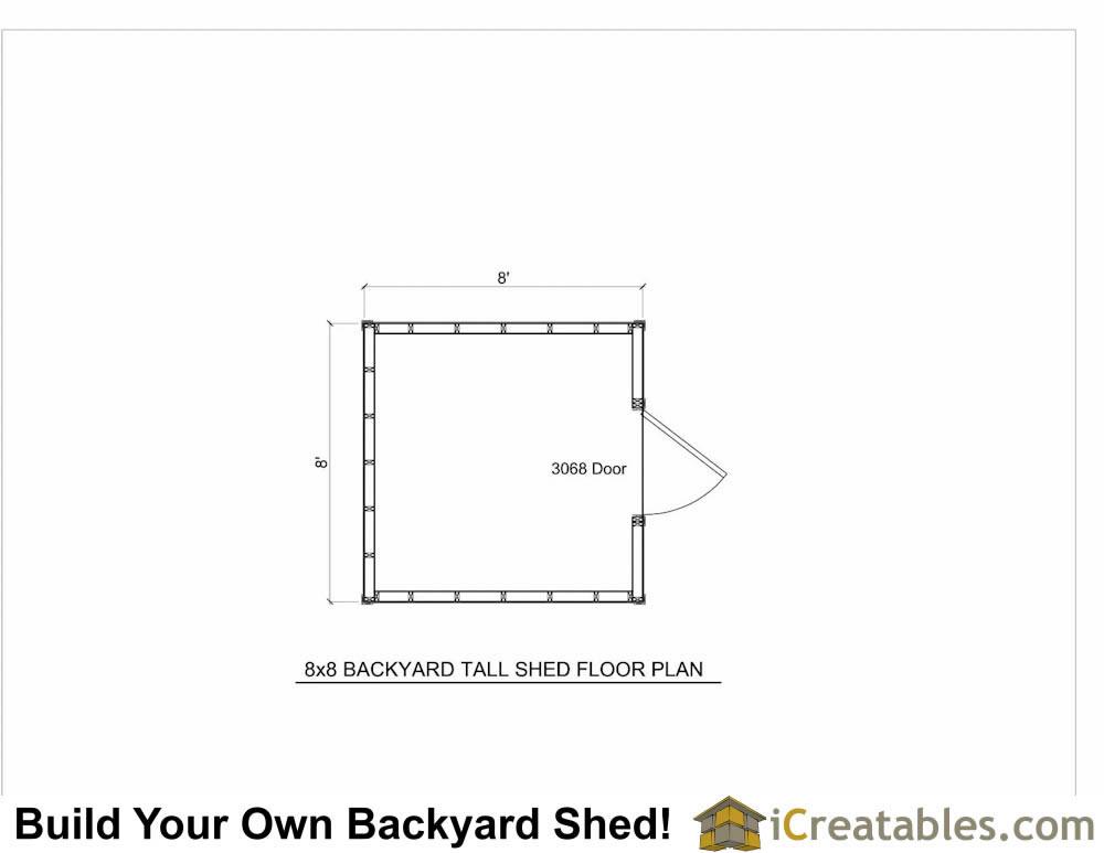 8x8 backyard storage shed plans for Shed floor plans design