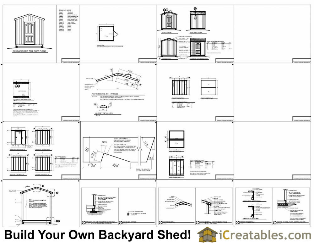 8x8 backyard shed plans taller wall height