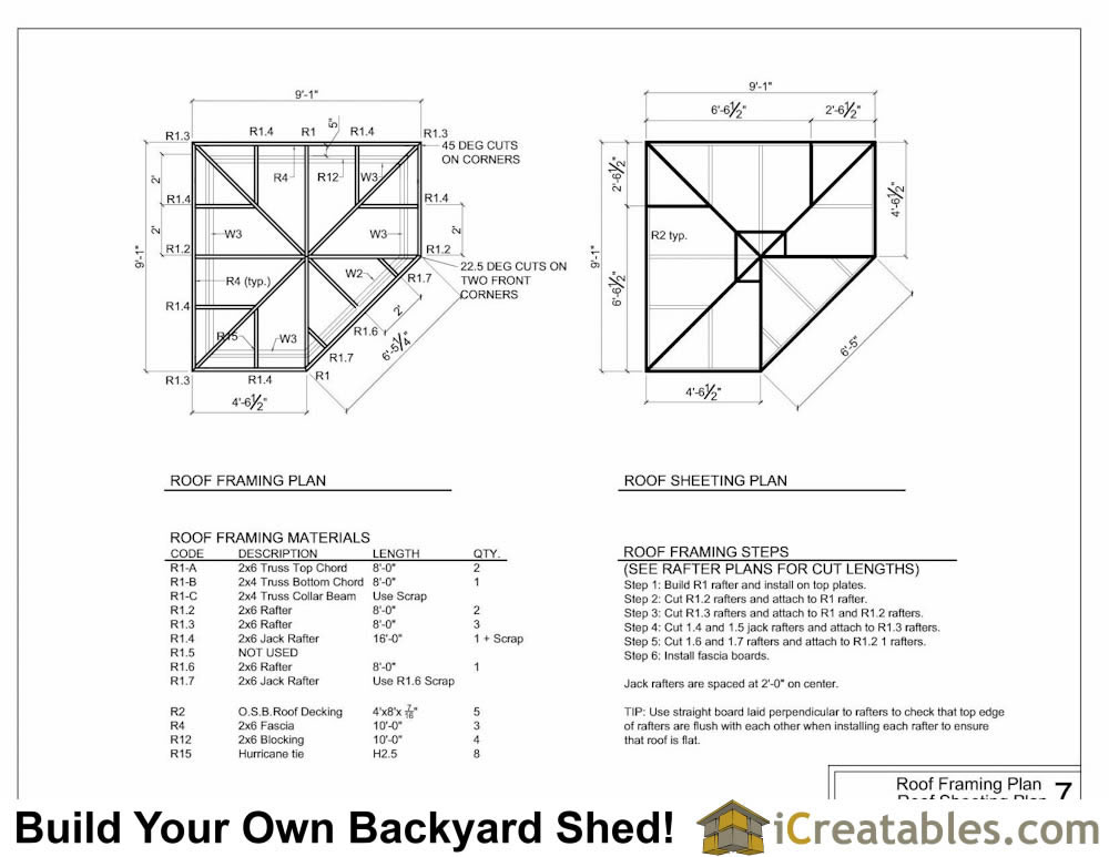8x8 5 sided corner shed plans for Ceiling framing plan
