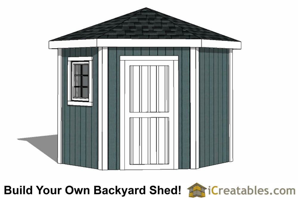 8x8 5 sided corner shed plans for Side of the house storage shed