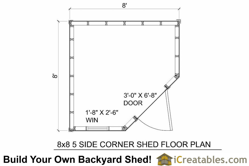 8x8 5 sided corner shed plans for Storage building floor plans