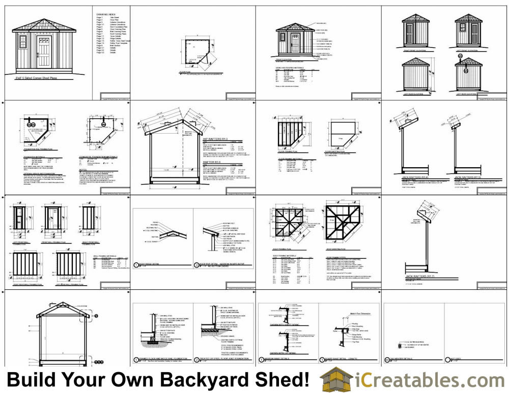 8x8 5 sided corner shed plans for 8x8 house plans