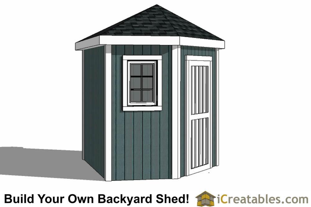 5 sided storage shed plans left elevation 5 sided corner - Corner Garden Sheds 8x8