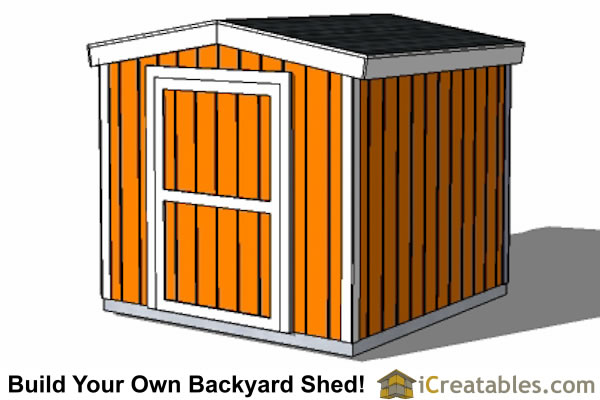 8x8 8 foot tall  shed plans front