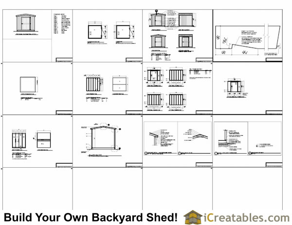 8x8 Gable Shed With 8 Foot Walls Plans Example
