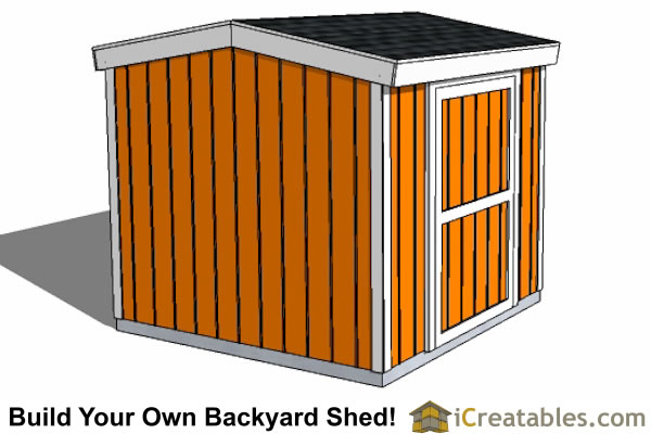 8x8 8 foot tall shed plans side door left side