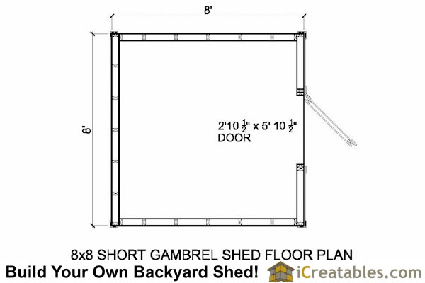 8x8 gambrel shed plans 8 39 tall shed plans for Shed floor plans design