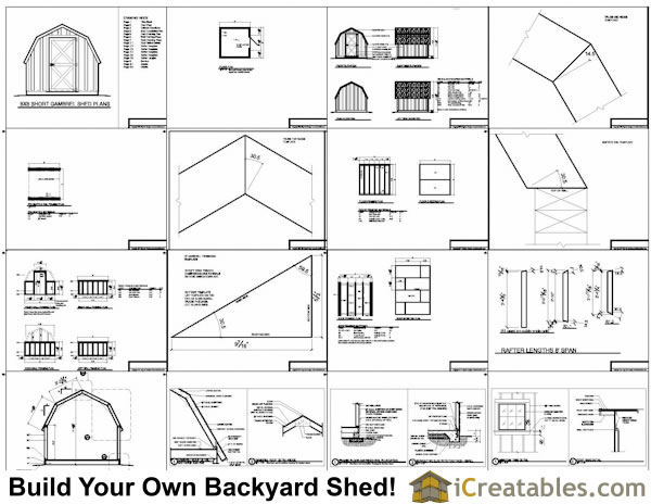 8x8 gambrel shed plans