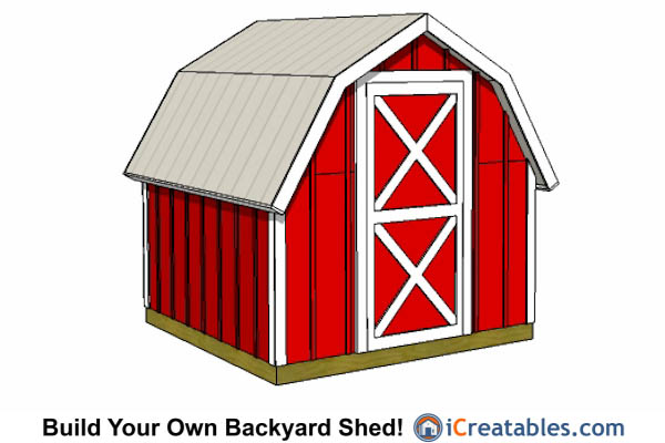 8x8 gambrel shed short height