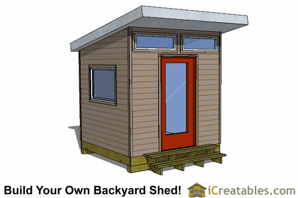 8x8 modern shed plans center door for 8x8 house plans