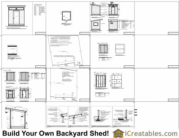 8x8 modern shed plans center door for Free shed design software with materials list